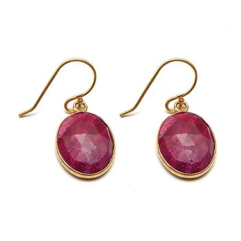 Radiant Ruby Sterling Silver Hook Earrings