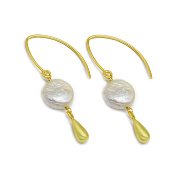 Vivid Pearl and Sterling Silver Hook Earrings