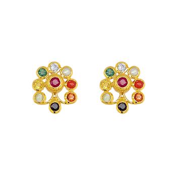 Ornate Multi-Coloured Navaratna 22K Gold Stud Earrings