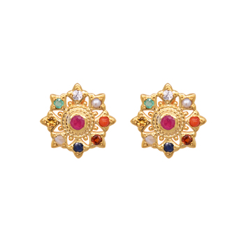 Artistic Gems Navaratna 22K Gold Stud Earrings