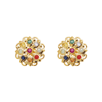 Captivating Navaratna 22K Gold Earrings