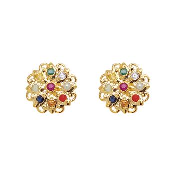 Captivating Navaratna 22K Gold Earrings