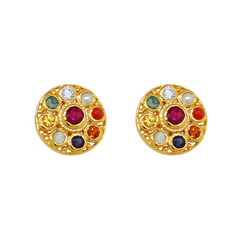 Beautifully Bold Navaratna 22K Gold Stud Earrings