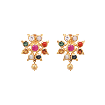 Tantalizing Navaratna 22K Gold Stud Earrings