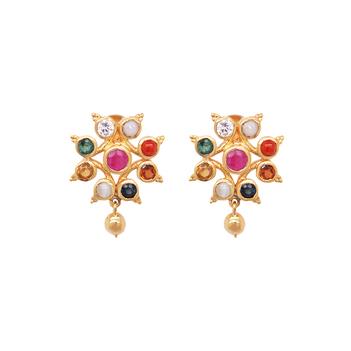 Tantalizing Navaratna 22K Gold Stud Earrings