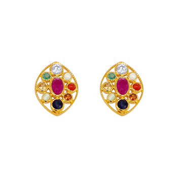 Uniquely Beautiful Navaratna 22K Gold Stud Earrings