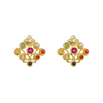 Regal Navaratna 22K Gold Stud Earrings