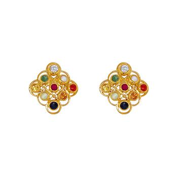 Glowing Navaratna 22K Gold Stud Earrings