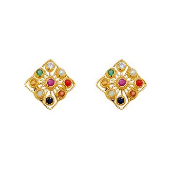 Marvellous Navaratna 22K Gold Stud Earrings