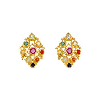 Traditional Navaratna 22K Gold Stud Earrings