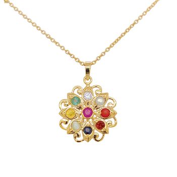 Captivating Navaratna 22K Gold Pendant