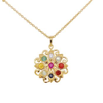 Captivating Navaratna 22K Gold Pendant