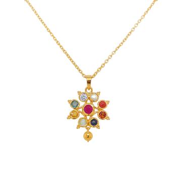Tantalizing Navaratna 22K Gold Pendant