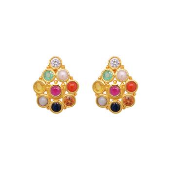 Colourful Navaratna 22K Gold Stud Earrings