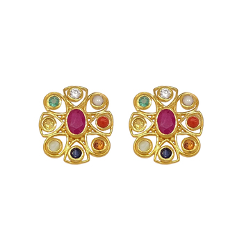 Trendy Navaratna 22K Gold Stud Earrings