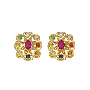 Trendy Navaratna 22K Gold Stud Earrings