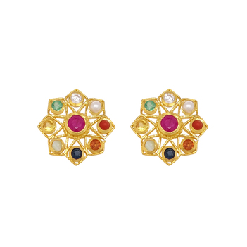 Kaleidoscopic Navaratna 22K Gold Stud Earrings