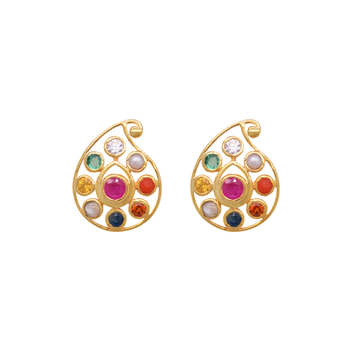 Elegant Navratna 22K Gold Stud Earrings