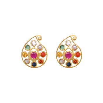 Elegant Navratna 22K Gold Stud Earrings