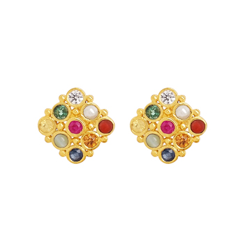 Bold Navaratna 22K Gold Stud Earrings