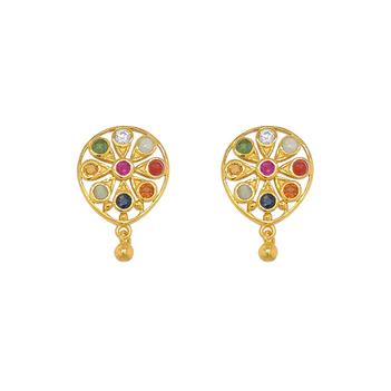 Enamouring Gems Navaratna 22K Gold Stud Earrings