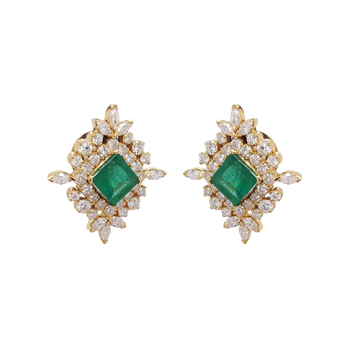 Eternally Beautiful Diamond & Emerald Gold Stud Earrings