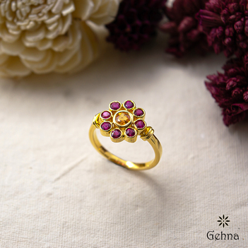 Floral Beauty Yellow Sapphire and Ruby 18K Gold Ring