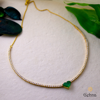 Passion Heart Emerald and Diamond Necklace