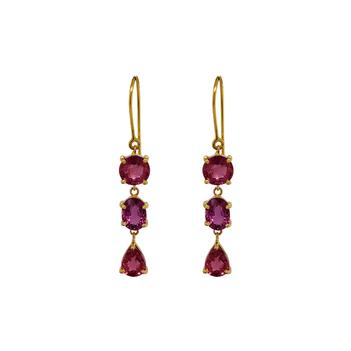 Vivid Natural Pink Tourmaline 18K Gold Hook Earrings