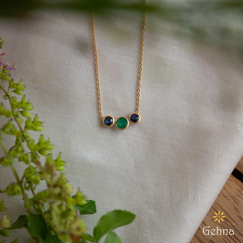 Dainty Blue Sapphire and Emerald 18K Gold Necklace (16 inches)