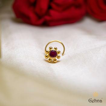 Ravishing Ruby 22K Gold Nose Pin