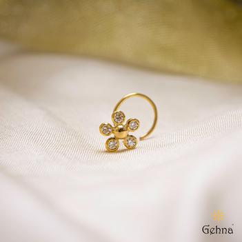 Dainty Floral Diamond 22K Gold Nosepin