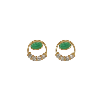 Dazzling Emerald and Diamond 18K Gold Stud Earrings
