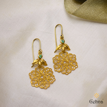 Handmade Filigree & Emerald 18K Gold Hook Earrings