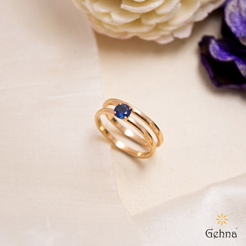 Contemporary Blue Sapphire 18K Rose Gold Stacking Ring