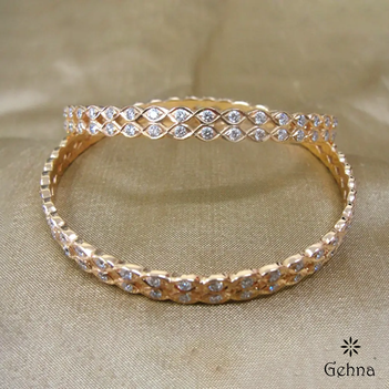 Elite Closed Setting Diamond 22K Gold Bangle (2'4 Size & 2 pcs)