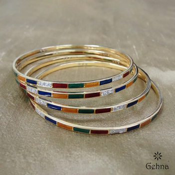 Diamond and Enamel 18K Gold Bangle (2'4 size & 4 pcs)