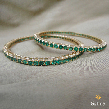 Evergreen Natural Emerald 18K Gold Bangles (2'4 Size & 2 pcs)