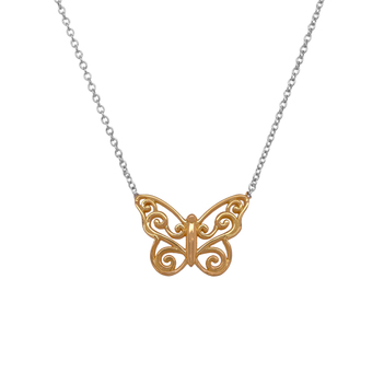 Adorable Gold Butterfly Pendant with Chain