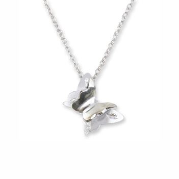 3D Butterfly Silver Pendant with Chain