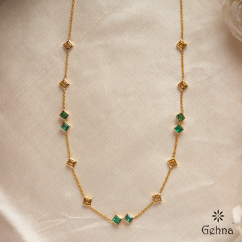 Opulent Emerald 18K Gold Chain (16 inches)