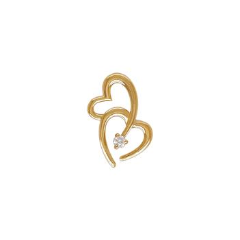 Interlocked Hearts 18K Gold and Diamond Pendant