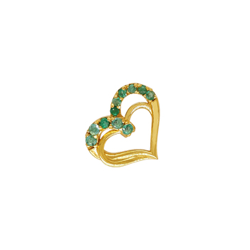 18K Gold and Emerald Heart Pendant