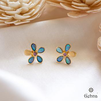 Floral  Australian Opal & 18K Gold Stud Earrings