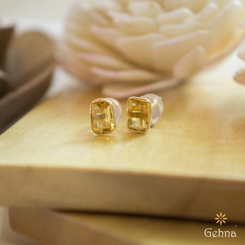 Fabulous Citrine 18K Gold Stud Earrings