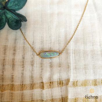 Glistening Australian Opal 18K Gold Pendant (16 inches)