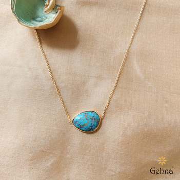 Oceanic Natural Turquoise 18K Gold Pendant (16 inches)