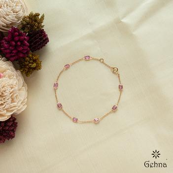 Dainty Pink Sapphire 18K Gold Bracelet