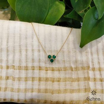 Tri-beauty Emerald 18K Gold Chain (16 inches)