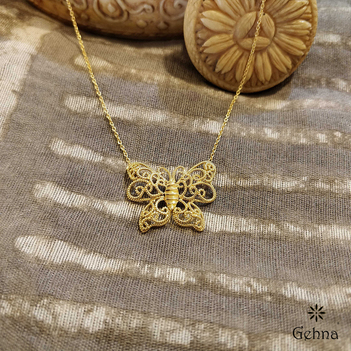Fabulous Filigree Butterfly 18K Gold Pendant (16 inches)